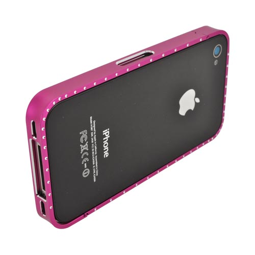 AT&T/ Verizon Apple iPhone 4, iPhone 4S Aluminum Bumper w/ Bling - Hot Pink w/ Clear Gems