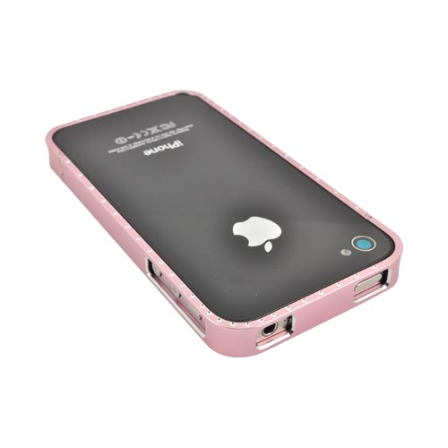 AT&T/ Verizon Apple iPhone 4, iPhone 4S Aluminum Bumper w/ Bling - Pink w/ Clear Gems