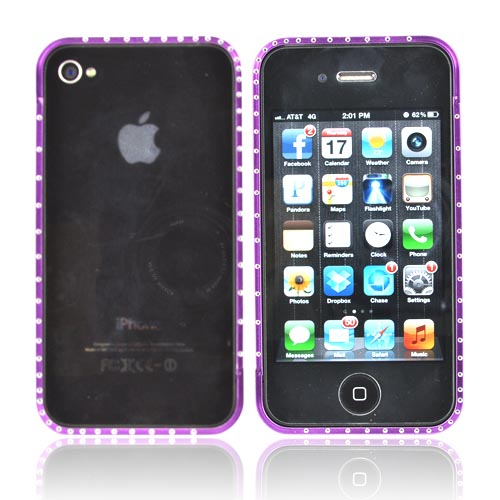 AT&T/ Verizon Apple iPhone 4, iPhone 4S Aluminum Bumper w/ Bling - Purple w/ Clear Gems