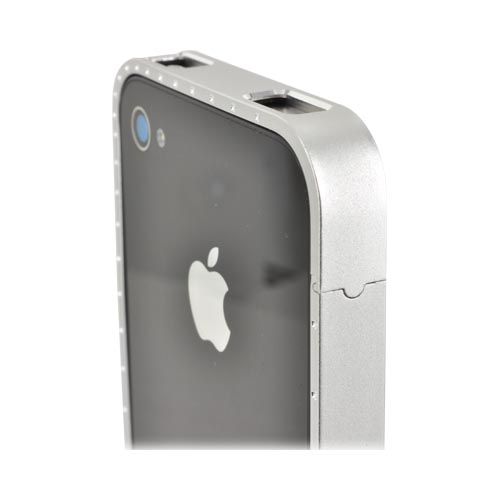 AT&T/ Verizon Apple iPhone 4, iPhone 4S Aluminum Bumper w/ Bling - Silver w/ Clear Gems