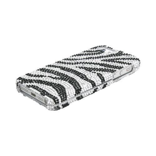 Apple iPhone SE / 5 / 5S Bling Case,  [Black/ Silver Zebra]  Shiny Sparkling Bling Gems Protective Hard Case Cover