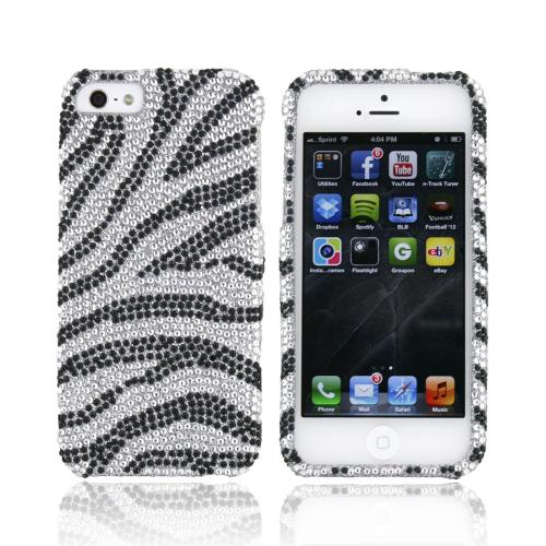 Apple iPhone 5/5S Bling Hard Case - Black/ Silver Zebra