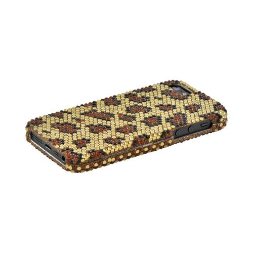 Apple iPhone 5/5S Bling Hard Case - Brown Leopard on Gold Gems