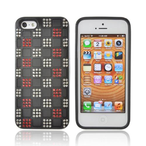 Apple iPhone 5/5S Bling Hard Cover Over Silicone Case - Red/ Silver Checkered Design