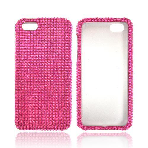 Apple iPhone SE / 5 / 5S Bling Case,  [Hot Pink Gems]  Shiny Sparkling Bling Gems Protective Hard Case Cover