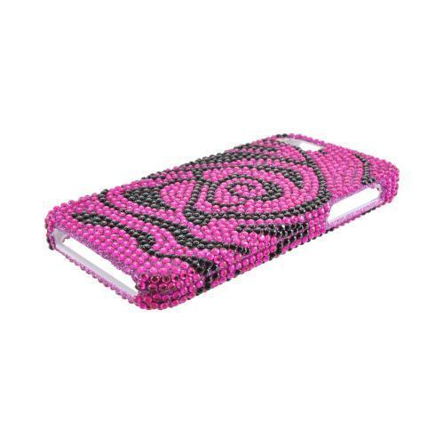 Apple iPhone 5/5S Bling Hard Case - Hot Pink/ Black Rose