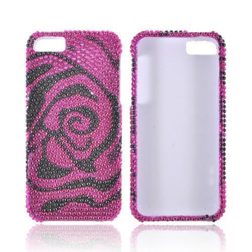 Apple iPhone SE / 5 / 5S Bling Case,  [Hot Pink/ Black Rose]  Shiny Sparkling Bling Gems Protective Hard Case Cover