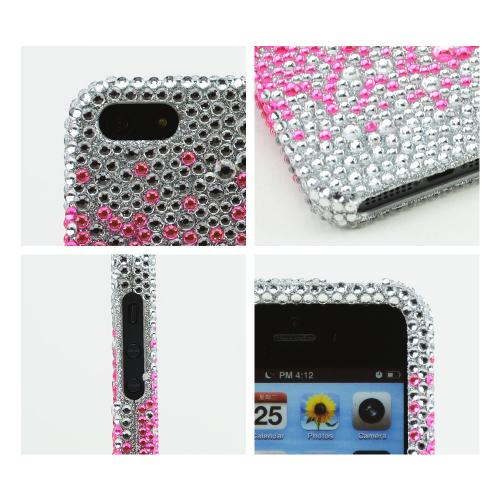Apple iPhone 5/5S Bling Hard Case - Hot Pink Splash Gems on Silver - XXIP5