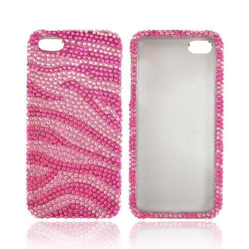 Apple iPhone SE / 5 / 5S Bling Case,  [Hot Pink/ Baby Pink Zebra]  Shiny Sparkling Bling Gems Protective Hard Case Cover