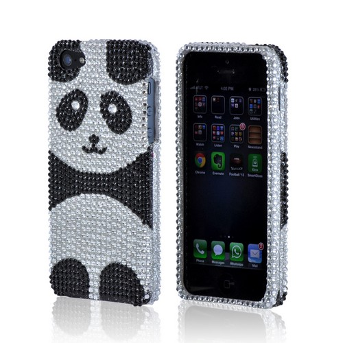 Silver/ Black Panda Bling Hard Case for Apple iPhone 5/5S