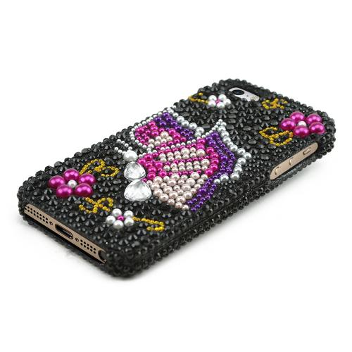 Apple iPhone 5/5S Bling Hard Case - Pink/ Purple Butterfly on Black Gems - XXIP5