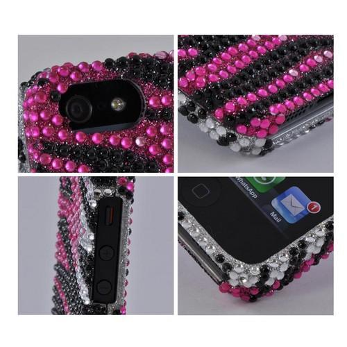 Apple iPhone SE / 5 / 5S Bling Case,  [Hot Pink/ Silver/ Black Zebra]  Shiny Sparkling Bling Gems Protective Hard Case Cover