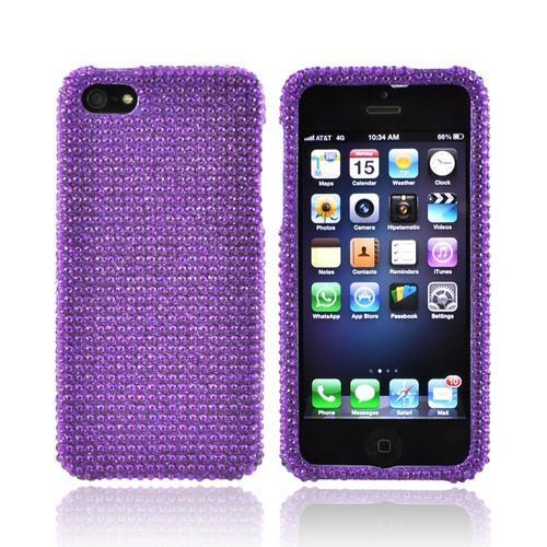 Apple iPhone SE / 5 / 5S Bling Case,  [Purple Gems]  Shiny Sparkling Bling Gems Protective Hard Case Cover