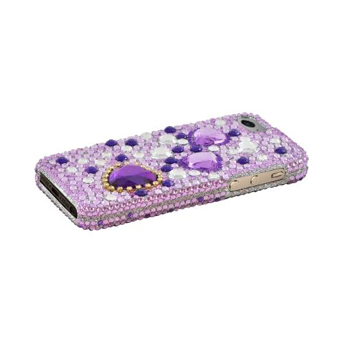 Apple iPhone 5/5S Bling Hard Case - Purple Hearts on Light Purple/ Silver Gems - XXIP5