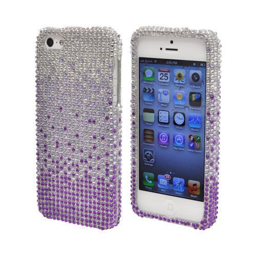 Apple iPhone SE / 5 / 5S Bling Case,  [Purple/ Lavender Waterfall on Silver Gems]  Shiny Sparkling Bling Gems Protective Hard Case Cover