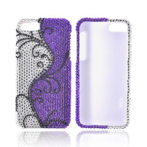 Apple iPhone SE / 5 / 5S Bling Case,  [Black Vines on Silver/ Purple Gems]  Shiny Sparkling Bling Gems Protective Hard Case Cover
