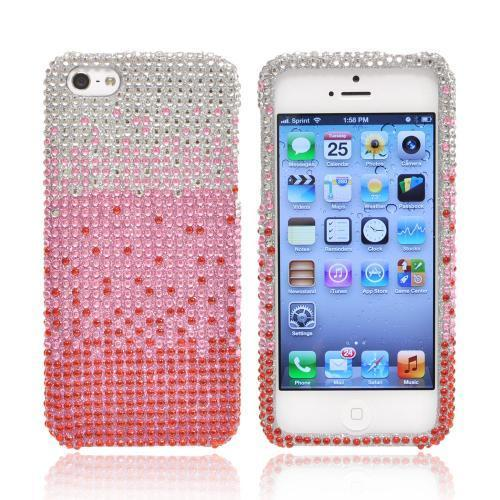 Apple iPhone SE / 5 / 5S Bling Case,  [Baby Pink/ Red Waterfall]  Shiny Sparkling Bling Gems Protective Hard Case Cover