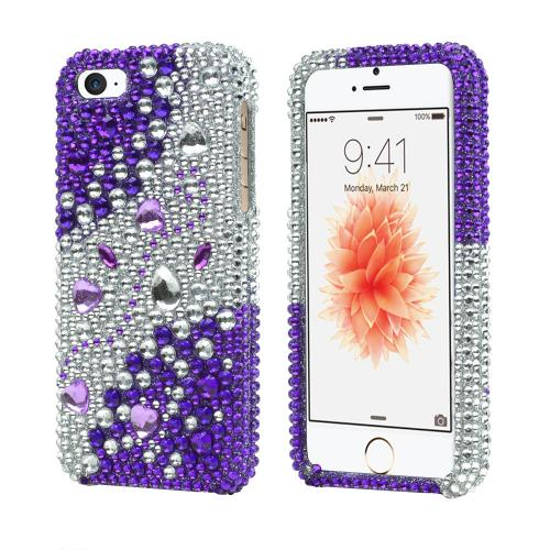 Apple iPhone 5/5S Bling Hard Case - Purple/ Silver Rhinestones