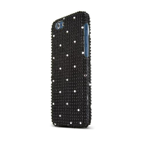 Apple iPhone 6/ 6S Case,  [Black Bling Gems] Jeweled Fashion Slim & Protective Crystal Glossy Snap-on Hard Polycarbonate Plastic Case Cover