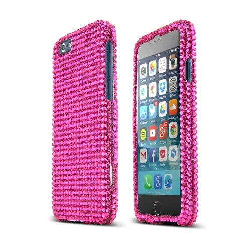 Hot Pink Bling Gems Apple iPhone 6 (4.7 inches) Hard Case Cover; Jeweled Fashion Cute Plastic Case; Perfect fit as Best Coolest Design cases