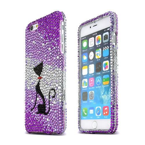 Apple iPhone 6 PLUS/6S PLUS (5.5 inch) Bling Case,  [Black Cat]  Jeweled Fashion Shiny Sparkling Gems Hard Case Cover