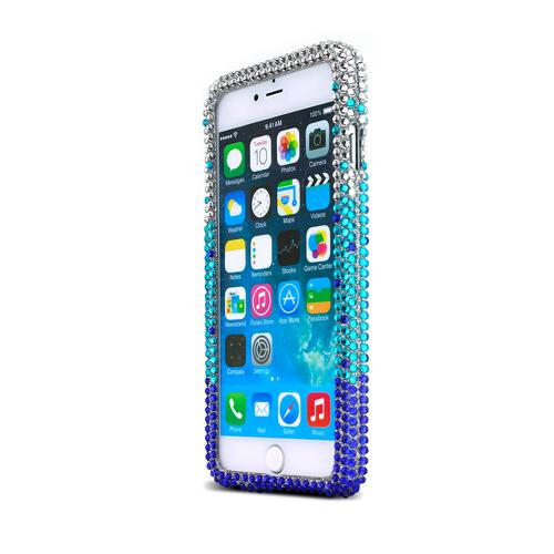 Apple iPhone 6 PLUS/6S PLUS (5.5 inch) Bling Case,  [Turquoise/ Blue Waterfall]  Jeweled Fashion Shiny Sparkling Gems Hard Case Cover