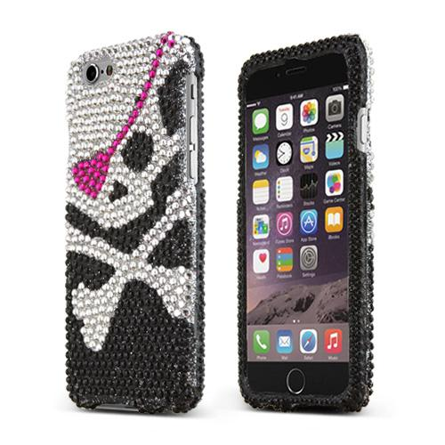 "Pirate On Black Shiny Sparkling Gem Gems Apple Iphone 6 (4.7"") Hard Case Cover; Jeweled Fashion Cute Hard Case"