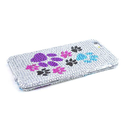 Apple iPhone 6 PLUS/6S PLUS (5.5 inch) Bling Case,  [Paw Prints]  Jeweled Fashion Shiny Sparkling Gems Hard Case Cover