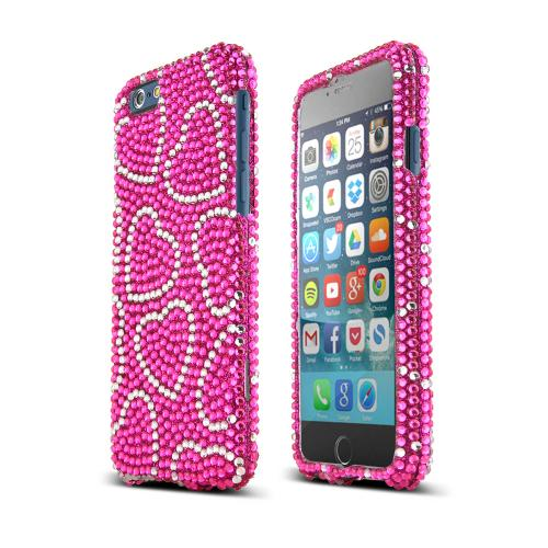 Apple iPhone 6/ 6S Case,  [Silver Hearts/ Hot Pink] Jeweled Fashion Slim & Protective Crystal Glossy Snap-on Hard Polycarbonate Plastic Case Cover