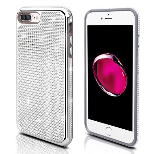 Apple iPhone 7 Plus (5.5 inch) Case, Diamante [Czech Crystal-Encrusted] TUFF Contempo Hybrid Bling Protector Cover [Silver]