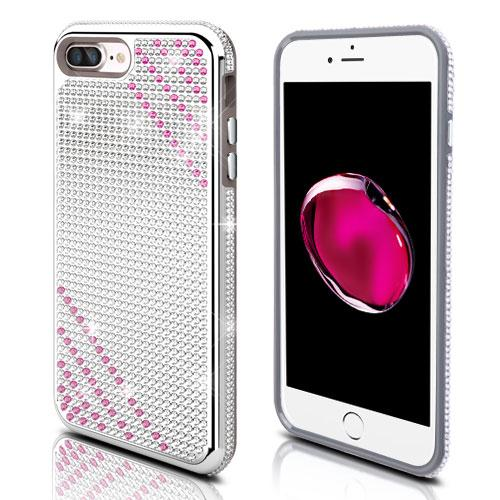 Apple iPhone 7 Plus (5.5 inch) Case, Diamante [Czech Crystal-Encrusted] TUFF Contempo Hybrid Bling Protector Cover [Silver w/ Hot Pink Stripes]