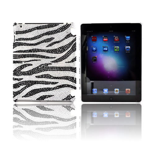 Apple iPad 2, New iPad Bling Hard Case - Black/ Silver Zebra