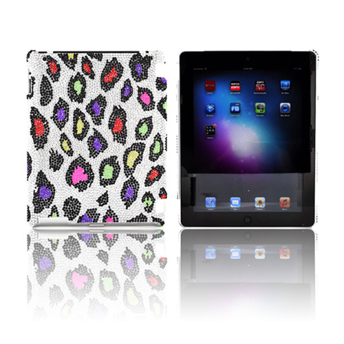 Apple iPad 2, New iPad Bling Hard Case – Rainbow Leopard on Silver Gems