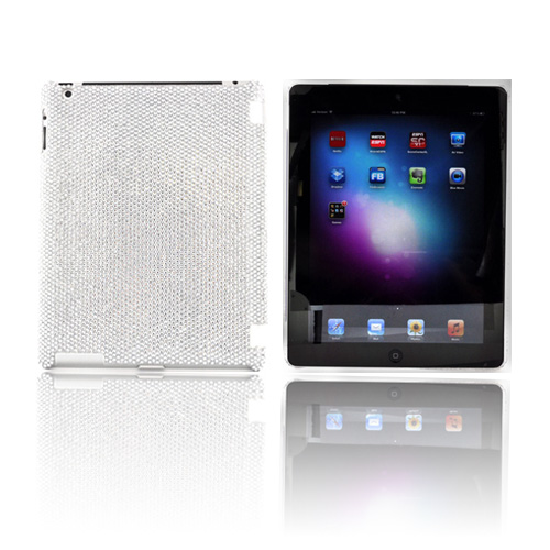 Apple iPad 2, New iPad Bling Hard Case - Silver Gems