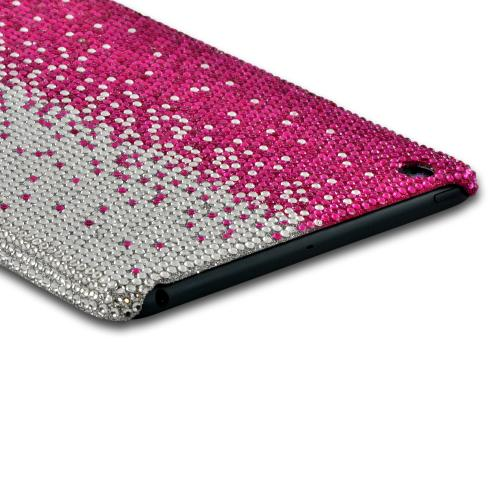 Hot Pink/ Silver Gems Bling Hard Case for Apple iPad Mini
