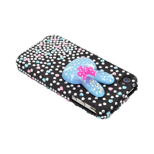 Premium Apple AT&T/ Verizon iPhone 4 Bling Hard Case - Blue Bunny w/ Silver, Blue & Pink Heart Gems on Black