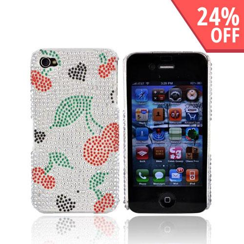 Apple Verizon/ AT&T iPhone 4, iPhone 4S Bling Hard Case - Hearts/Cherry on Silver