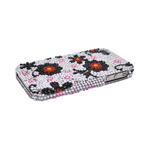 Apple iPhone 4 Bling Hard Case - Black/Red Daisies on Silver