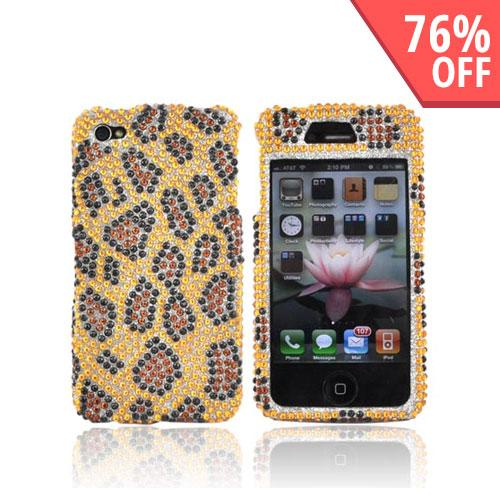 Apple Verizon/ AT&T iPhone 4, iPhone 4S Bling Hard Case - Leopard Gold/Brown