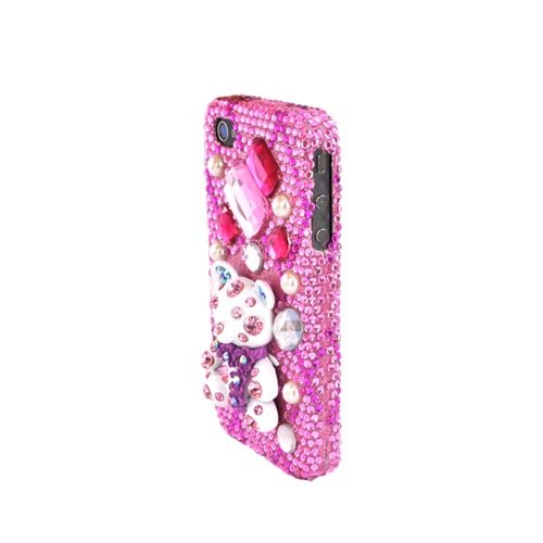 Luxmo Verizon/ AT&T iPhone 4, iPhone 4S Bling Hard Case - White Bear on Pink Gems