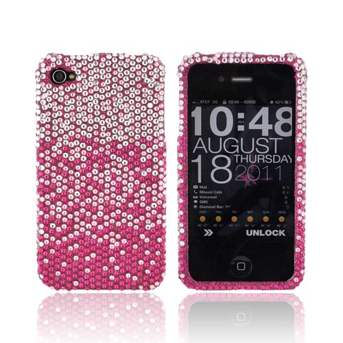 AT&T/ Verizon Apple iPhone 4, iPhone 4S Bling Hard Case - Magenta/ Baby Pink Waterfall on Silver Gems