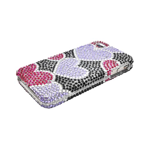 Luxmo Apple Verizon/ AT&T iPhone 4, iPhone 4S Bling Hard Case - Purple/Pink Hearts on Black