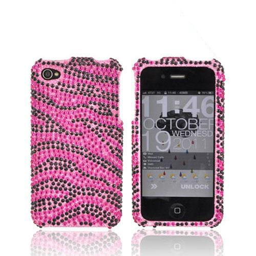 Apple Verizon/ AT&T iPhone 4, iPhone 4S Bling Hard Case - Zebra Pink/Black