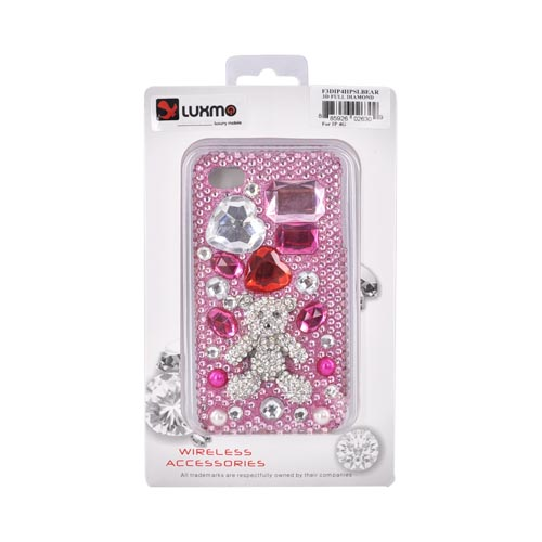 Premium Apple AT&T/ Verizon iPhone 4, iPhone 4S Bling Hard Case - White Teddy Bear w/ Hearts on Pink