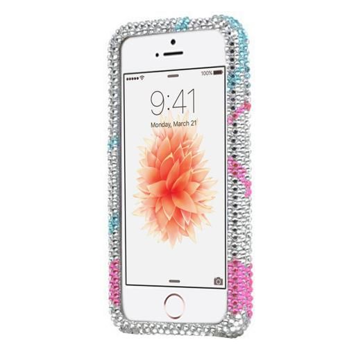 [Apple iPhone SE/5/5S] Bling Case,  [Purple/Blue/Pink Circles on Silver]  Shiny Sparkling Bling Gems Protective Hard Case Cover