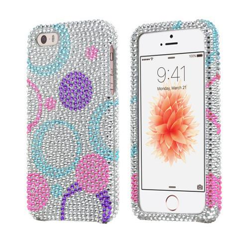Apple iPhone SE / 5 / 5S Bling Case,  [Purple/Blue/Pink Circles on Silver]  Shiny Sparkling Bling Gems Protective Hard Case Cover