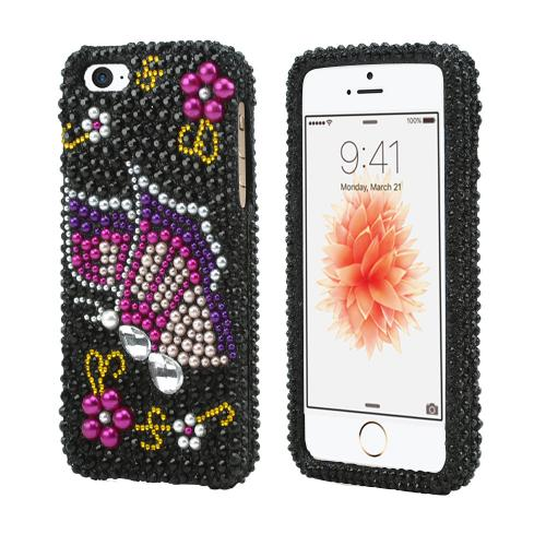[Apple iPhone SE/5/5S] Bling Case,  [Pink/ Purple Butterfly on Black Gems]  Shiny Sparkling Bling Gems Protective Hard Case Cover