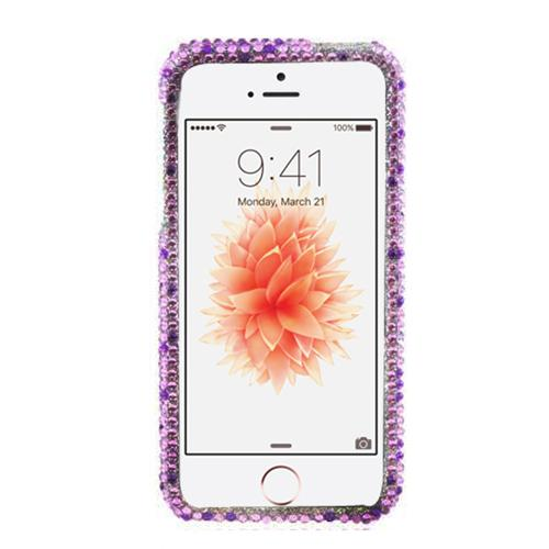 Apple iPhone SE / 5 / 5S Bling Case,  [Purple Hearts on Light Purple/ Silver Gems]  Shiny Sparkling Bling Gems Protective Hard Case Cover