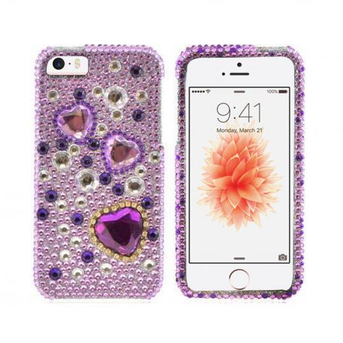 [Apple iPhone SE/5/5S] Bling Case,  [Purple Hearts on Light Purple/ Silver Gems]  Shiny Sparkling Bling Gems Protective Hard Case Cover