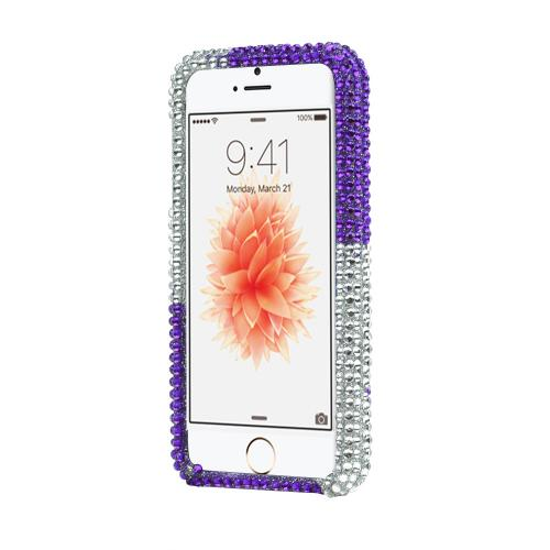Apple iPhone SE / 5 / 5S Bling Case,  [Purple/ Silver Rhinestones]  Shiny Sparkling Bling Gems Protective Hard Case Cover